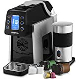 Gourmia GCM5000S One Touch K-Cup & Espresso Capsule Coffee Machine, Compatible With Nespresso and K-Cup & More, Built In Milk Frother, Adjustable Temperature & Size, Digital Display - Silver
