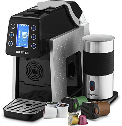 Gourmia GCM5000 One Touch Multi Capsule Coffee Machine, Compatible With Nespresso, K-Cup Pods & More, Built In Milk Frothier, Adjustable Temperature & Size, Digital Display - Silver by Gourmia