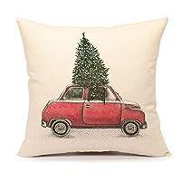 4º árbol de navidad Emotion y funda de almohada decorativa para el hogar del coche rojo Funda de cojín decorativa 18 x 18 pulgadas de lino de algodón para sofá (camioneta vintage)