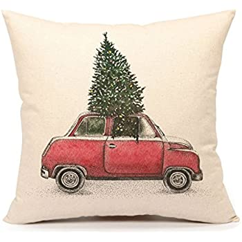 Christmas Tree and Red Car Throw Pillow Cover Home Decorative Cushion Case 18 x 18 Inch Cotton Linen for Sofa(Vintage Truck)