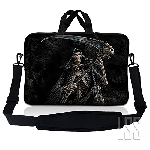 LSS 15.6 inch Laptop Sleeve Bag Compatible with Acer, Asus, Dell, HP, Sony, MacBook and more | Carrying Case Pouch w/ Handle & Adjustable Shoulder Strap,Reaper Skull