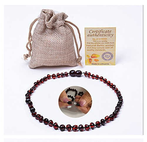 Premium Amber Teething Necklace for Baby -(Unisex) (Cherry) Natural Remedy of Inflammation, Drool, Molar& Fussiness - Natural Certificated Oval Baltic Jewelry with The Highest Quality