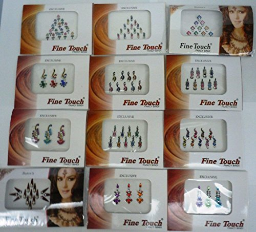 Good Quality 12 Pack Bollywood Head Bindi Tattoo Indian Art Rhinestone Stick On Reusable