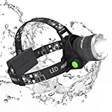 Headlamp, Sungluber 3 Modes Super Bright LED Headlight, Waterproof Flashlight with 90º Moving Zoomable 2Pack Rechargeable 18650 Battery Adjustable Headband for Camping Running Hiking and more