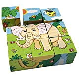 Rolimate Educational Preschool Wooden Cube Block Jigsaw Puzzles - Lion Zebra Elephant Rhinoceros Tiger Rabbit, Birthday Gift Toys for age 1 2 3 Years Old and Up Toddlers Kids Baby Children Boys Girls by Rolimate