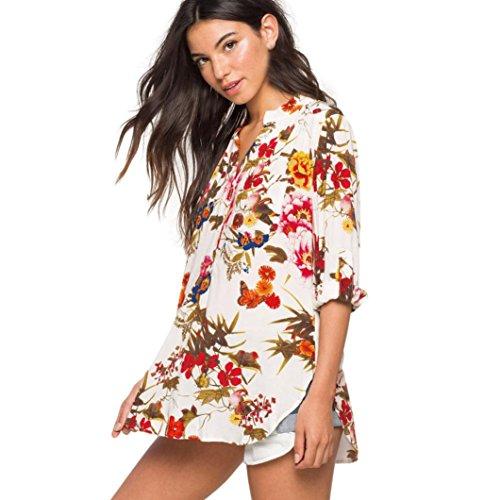 Asymtrique Femmes Col Soie de Long Ansenesna XS Chemise Casual Shirt Beige Imprim Tops Manche XXXL Chic V Mousseline Blouse Floral Longue Loose FCwCqz
