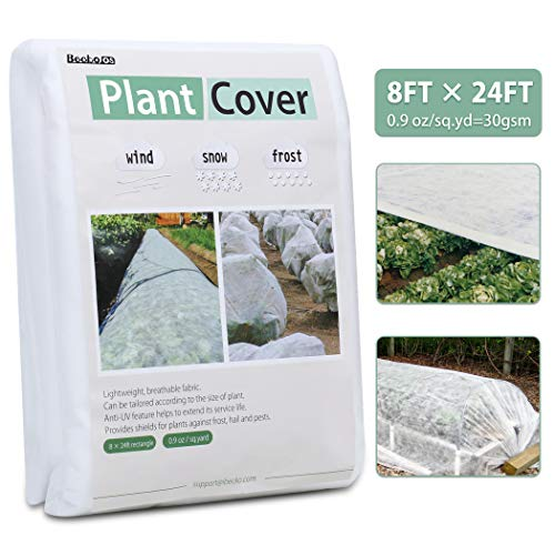 Becko Plant Cover Plant Protection Cover Garden Covers for Winter Frost Freeze Prptection, UV Resistant (8 x 24 ft)