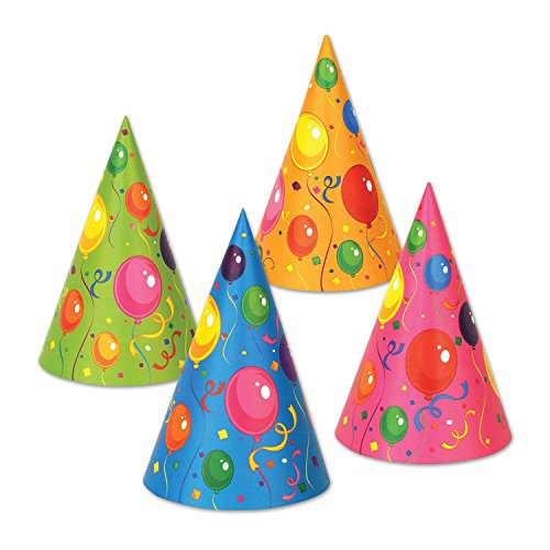 Club Pack of 144 Multi-Colored Fluorescent Fun and Festive Party Cone Hat 6.5'' by Party Central
