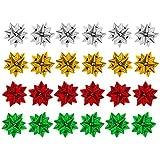 Paquet de 24 couleurs assorties Metalique Cadeau Présent de Noël noeuds - 4cm
