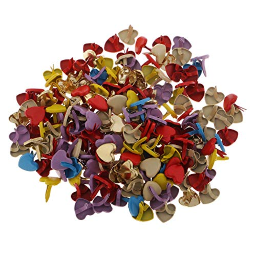 - 200 Pieces Mini Brads Heart Paper Fasteners Metal Brad for Craft Stamping Scrapbooking Embellishment DIY Tool