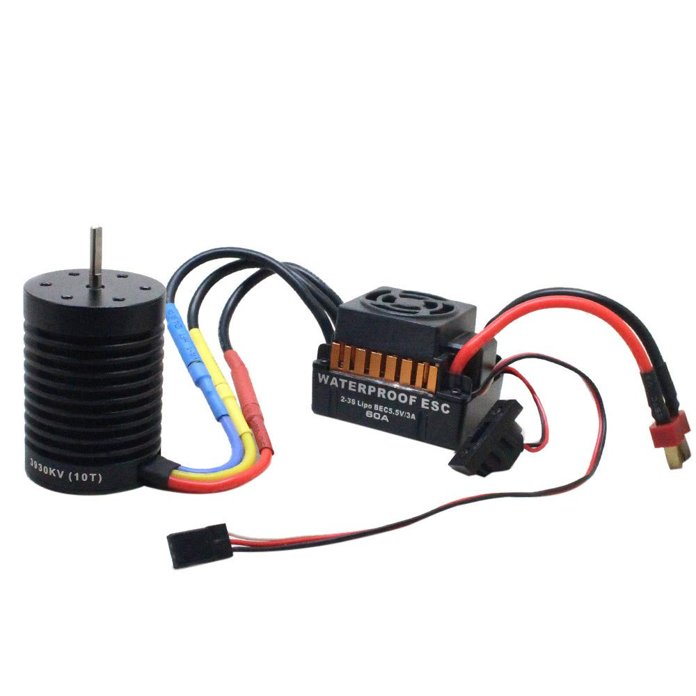 Hot  Fit 1/10 RC Car CNC Machined 4-Pole 12-Slot Hi-Torque Motor Design 10T KV3930 4 Poles Brushless Motor + Waterproof 60A Car Brushless ESC