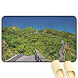 homecoco Ancient China Entrance Mat Scenery of The Great Wall of China in Mountains Panoramic Photo Landmark Blue Green Grey Rubber Front Entrance Outside Doormat W24 x L35 INCH