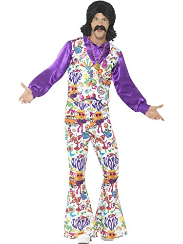 Smiffys Men's 60s Groovy Hippie Costume, Multi, Medium