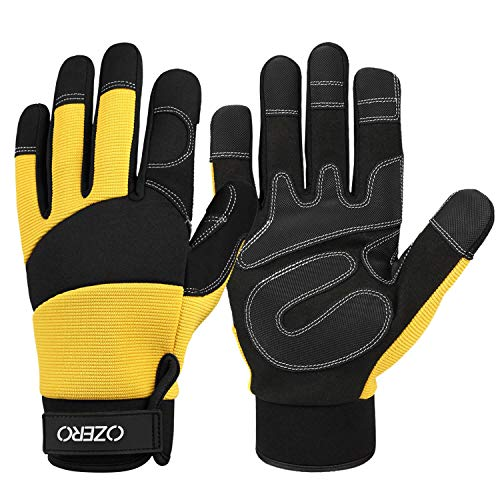 Garden Gloves for Men and Women with Flex Touch screen Fingertips and Synthetic Leather Palm for Gardening, Yard, Construction, Home Black-yellow