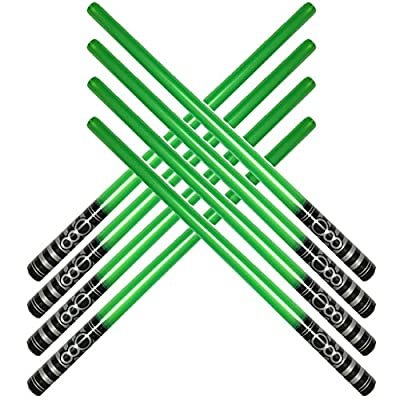 Pack of 8 Inflatable Light Saber Sword Toys - 8 green lightsabers - pool, beach, party favors, larp, Halloween costume, give away, Christmas stocking stuffer