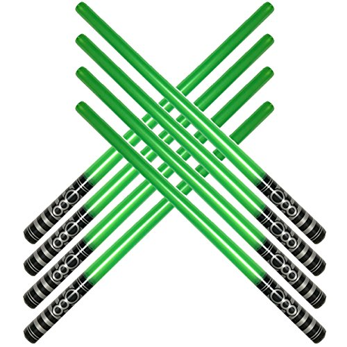 megasumer Pack of 8 Inflatable Light Saber Sword Toys - 8 green lightsabers - pool, beach, party favors, larp, Halloween costume, give away, Christmas stocking -