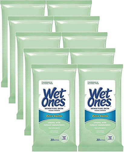 Wet Ones Sensitive Skin Hands & Face Wipes, 20 Count Travel Pack 200 Wipes?Total by Wet Ones