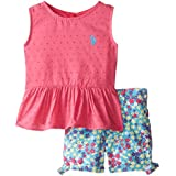 U.S. Polo Assn. Girls' Swiss Dot Peplum Top and Twill Shorts