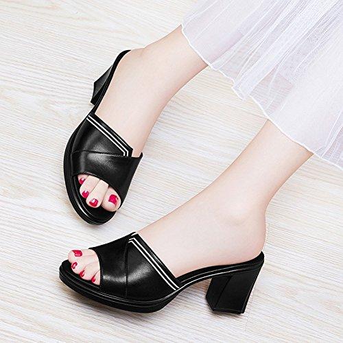 Jqdyl Tacones Nuevas Zapatillas de Tacón Alto Moda Femenina de Verano Desgaste Salvaje de Espesor con el Verano al Aire Libre, 40, Negro 40|black