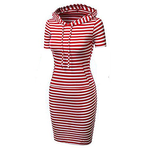 Menglihua Womans Basic Bodycon Pullover Hooded Hoodies Dress with Kangaroo Pockets Red Stripe Short Sleeve Large