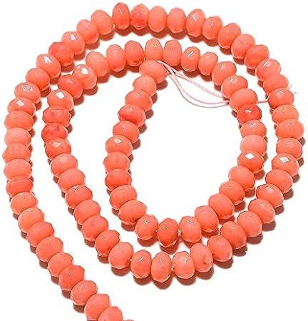 LOVEKUSH Cuentas raras 10 hebras al por mayor Rondell de coral, cuentas de coral, cuentas de coral facetado, perlas de 6 mm, collar de coral rosa, 15 pulgadas cada uno-RM364