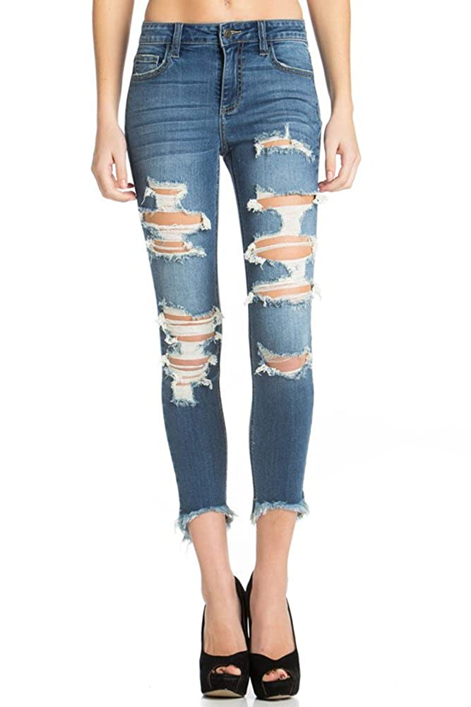 Cello Jeans Womens Mid-Rise Uneven Hem Cropped Skinny Jean