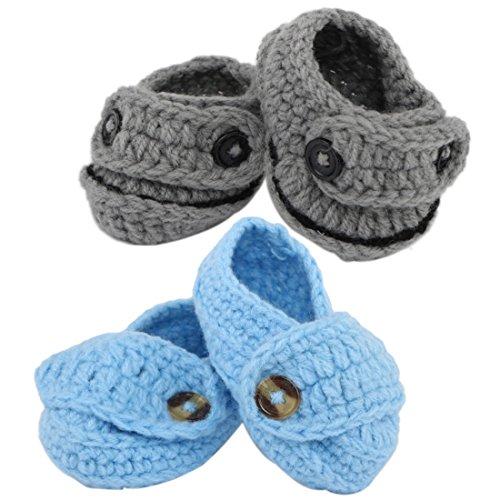 kilofly Socks Baby Boy Newborn Infant Hand Crochet Shoes Booties, (Crochet Preemie Booties)