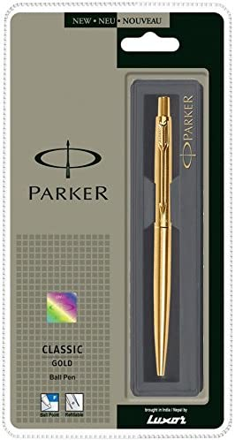 NEW PARKER CLASSIC GOLD PLATED GT BALLPOINT PEN-BLUE INK-PARKER GIFT BOX.