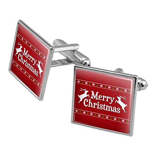 Merry Christmas Holiday Reindeer Square Cufflink Set Silver Color - Christmas Holiday Cufflinks