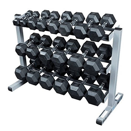 BODY-SOLID GDR-363 All in One Kurzhantelständer Hantelablage Hexhantelablage Dumbbell Rack, 3 Ablagebleche