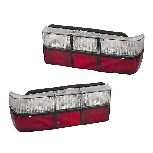 Performance Set Taillights Pair Red & Clear Tail Lamp Units w/Black Trim Replacement for Volvo 240 Series AutoAndArt