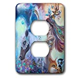 3dRose Erica Wexler - Woman and Animals - Spiritual Warrior Woman On A Horse With Her Pack Of Animals - Light Switch Covers - 2 plug outlet cover (lsp_289647_6)
