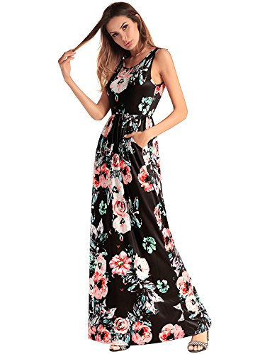 sans Party Boho Floral Evening Robe Ladies Print Robe Femmes Maxi manches Longue Noir 68E6n
