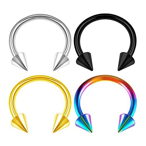 - 4PCS Stainless Steel Horseshoe Circular Barbell 14 Gauge 1/2 12mm 4mm Spike Eyebrow Earrings Cartilage Piercing Jewelry 2982