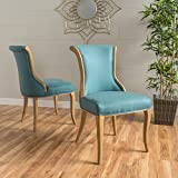 Luther Dark Teal Fabric Dining Chair (Set of 2) For Sale