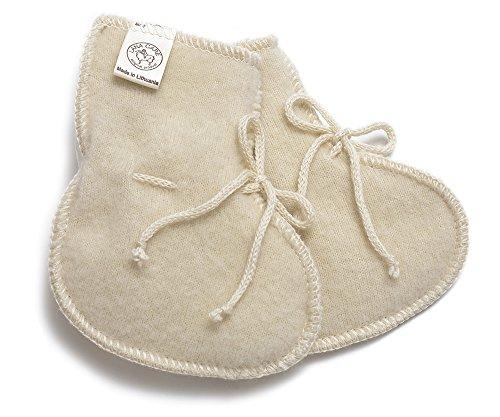 LANACARE Baby Booties in Organic Wool, Natural White, size 50 (0-3 mo)