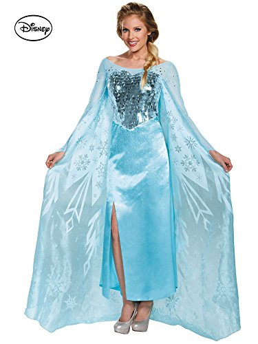Disguise Women's Elsa Ultra Prestige Adult Costume, Blue, Large