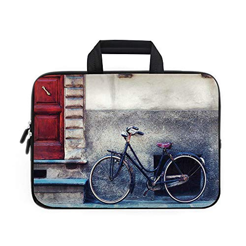 Bicycle Laptop Carrying Bag Sleeve,Neoprene Sleeve Case/Vintage Bicycle Leans on City Walls Modern Urban Regular Transportation Vehicle Image/for Apple Macbook Air Samsung Google Acer HP DELL Lenovo ()