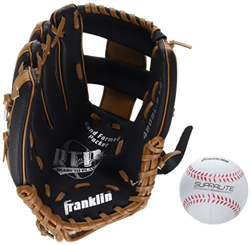 Franklin Sports Teeball Performance Series Fielding Glove with Ball, 9.5-Inch, Black/Tan, Left Hand Throw