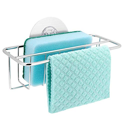 Bogeer Sponge Holder Kitchen Sink Organizer Sink Caddy Dishcloth Hanger, Dishwashing Holder Holder for Sponge and Dish Cloth Dishwashing Liquid Drainer Rack, 304 Stainless Steel, Strong Adhesive