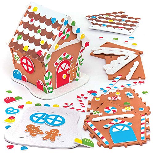Baker Ross Gingerbread Foam House Kits (Pack of 2) for Kids Christmas Crafts and Decorations ()