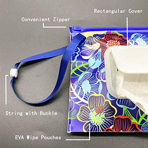 ULVBABI 2 Pack Portable Wet Wipe Pouch Container, Reusable & Refillable Baby Wipes Dispenser, Eco Friendly and Lightweight Handy Travel Diaper Wipes Carrying Case Holder (Flower Pattern)