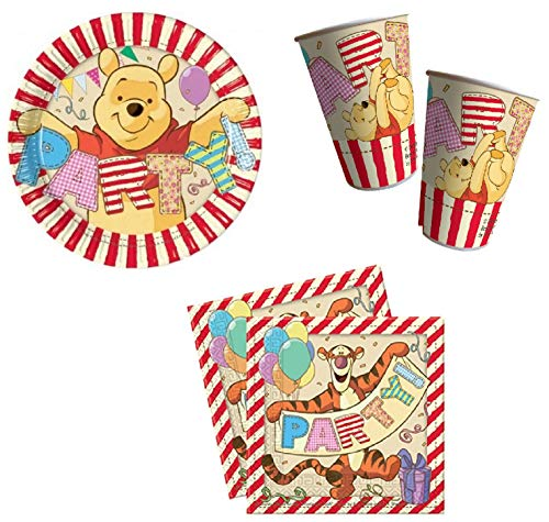 Winnie the Pooh Party Pack 8 Plates, 8 Cups and 20 Serviettes -