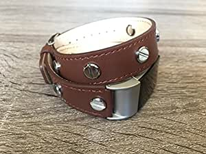 Designer Brown Double Wrapped Eco Friendly Leather Bracelet For Fitbit Charge 2 With Multiple Silver Rivets Handmade Replacement By BSI