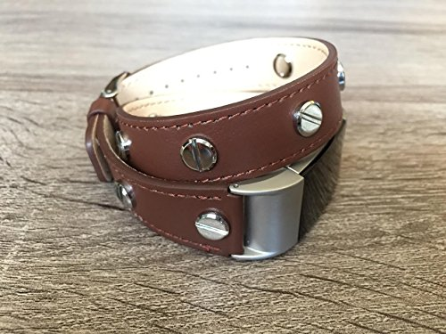 Designer Brown Double Wrapped Eco Friendly Leather Bracelet For Fitbit Charge 2 With Multiple Silver Rivets Handmade Replacement By -