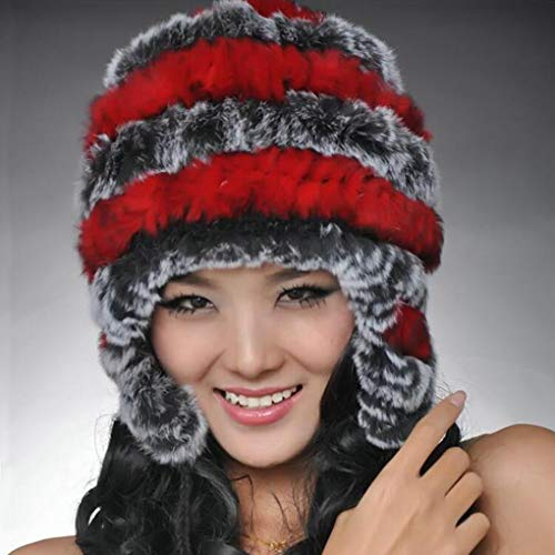 Winter Women Hat Super Warm Genuine Rex Rabbit Fur Ear Muffs Rex Rabbit Cap Lady Luxury Fur Hat Femal