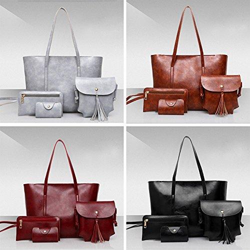 sac ensembles à bandoulière main 4 PU Gris grande Dxlta sac pièces capacité Vintige sacs plage à nUT1w0xq
