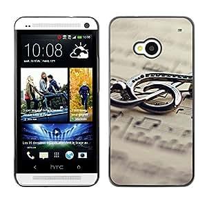Suave silicona goma funda carcasa rígida protectora Accessory Compatible con HTC ONE M72013–música Metal Nota
