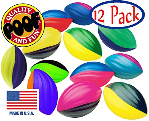 POOF-Slinky 511S/12 8.5-Inch Foam Power Spiral Turbo Footballs, Case of 12 Assorted Colors