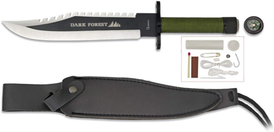 Albainox Cuchillo de Supervivencia Dark Forest Hoja de Acero INOX DE 21.7 cm.